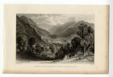 1835 Antique Print RYDAL HALL from FOX HOWE Lake District CUMBRIA Picnic Party
